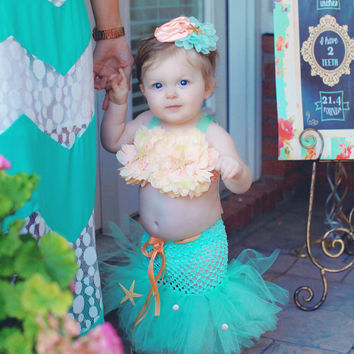 Mermaid Tutu, Little Mermaid, Mermaid Costume, Ocean Theme, Beach Theme, Beach Birthday, Photography Prop, Baby Bikini, OOC