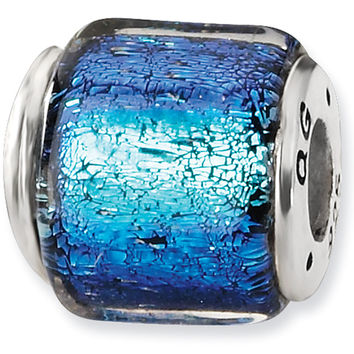 Reflection Beads Silver Blue Dichroic Glass Bead