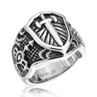Christmas Gifts Stainless Steel Celtic Medieval Cross and Shield Mens Ring