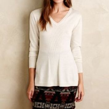 Isy & Ki Ribbed Channel Pullover in Ivory Size: