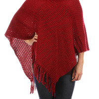 Blue Turtle Neck Knit Poncho