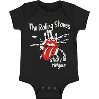 Rolling Stones Boys' Sticky Little Fingers Romper Bodysuit Black