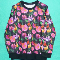 Flowers Crew neck Jumper Sweatshirt Teen Women Longsleeve Collorful flower Sweatshirt T-Shirt Long Sleeve Women Shirt Tshirt Unisex Size M/L