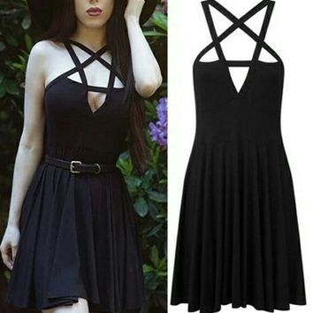 Gothic Punk 5 Pointed Star Sleeveless Casual Dress