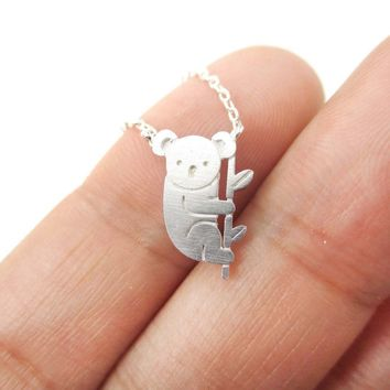 Adorable Koala Bear Shaped Silhouette Charm Necklace in Silver | Animal Jewelry