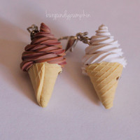 Ice cream charm, handmade with polymer clay, miniature food jewelry