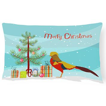 Golden or Chinese Pheasant Christmas Canvas Fabric Decorative Pillow BB9295PW1216