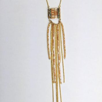 Dangle Beads and Chains Necklace - Blush