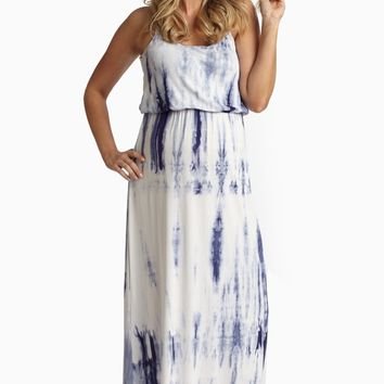 Navy Blue Tie Dye Maternity Maxi Dress
