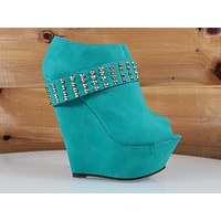 Mona Mia Alexa Emerald High Heel Platform Wedge Stud Band Ankle Boot Shoes 6-10