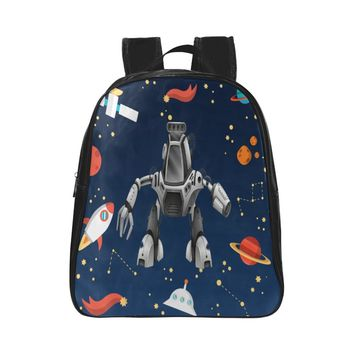 Space Robot Children's Small Black Leather School Bag