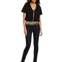Evolution by Cyrus Women's Short Sleeve Shawl Collar Cropped Jacket