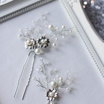 Wedding Floral Hair Pins PAIR