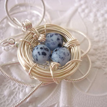 Birds Nest Necklace Blue Easter Eggs Bird Pendant