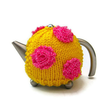 Yellow teapot cosy tea cozy country cottage knitted cosie bright colourful teapot warmer in bright yellow with pink  polka dot roses