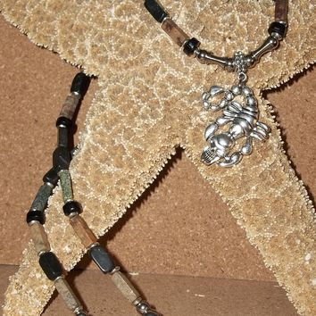 "Men's Scorpion w/ Skull Goth Rocker Pendant on Serpentine & Black Marble Beaded  Hand Crafted 24"" Necklace"