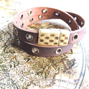 Men's Italian Leather Wrap Bracelet-Dark Brown with Brass Rivets, Textured Brass Magnetic Clasp-Gifts for Men, Gifts for Women, Christmas
