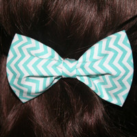 Aqua Chevron Clip on Bow