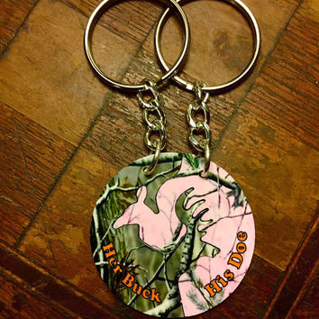 Camo Her Buck & His Doe Interlocking Keychains