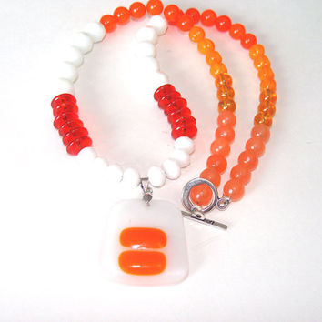 Shades Of Orange And White Beaded  Necklace Fused Glass Pendant  Orange Jade And Glass Beads