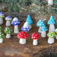 Garden Mushroom Ceramic Glazed Pottery 3 red Toadstool Statues Home Grown Ceramic Shrooms - muscaria fly Hand Sculpt