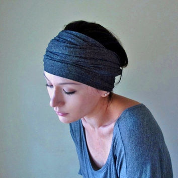 Grey Head Scarf  - All In One Charcoal Gray Neck Bow, Ascot, Hair Wrap, Headband - Jersey Scarf
