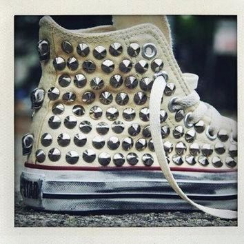 CREYON studded converse converse cream high top with silver cone rivet studs by customduo on