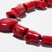 Red Coral Beaded Necklace, Natural Stones & Black Glass Beads, Silver Floral Toggle Clasp