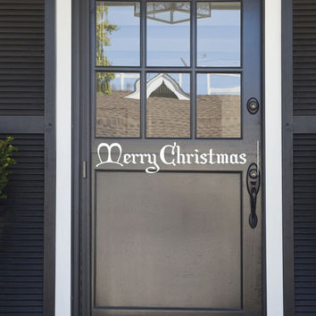 Merry Christmas vinyl decal - removable sticker for the holidays in a Christmas style font