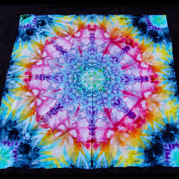 Tie Dye Tapestry - Trippy Festival Tapestries - Psychedelic Wall Hanging - Handmade Tapestries - GratefullyDyed