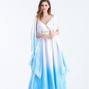 Halloween Greek goddess clothing water blue fairy dress