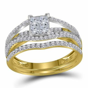 10kt Yellow Gold Women's Princess Diamond Elevated Bridal Wedding Engagement Ring Band Set 1.00 Cttw - FREE Shipping (US/CAN)