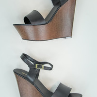 Faux Leather Wedges in Black