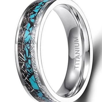 CERTIFIED 8mm Titanium Rings Turquoise Imitated Meteorite Inlaid