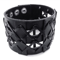 Weaved Black Leather Bracelet