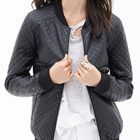 Black Quilting Zippered Jacket