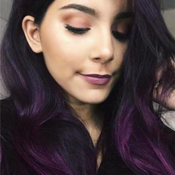 Long Black Purple Ombre Straight Synthetic Lace Front Wig