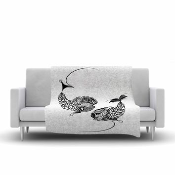 "Maria Bazarova ""Fish Horoscope, Zodiac, Pisces"" White Black Animals Art Deco Vector Illustration Fleece Throw Blanket"