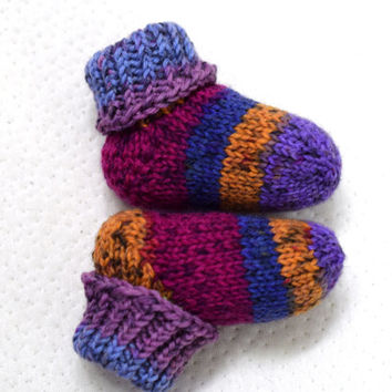 Thick wool socks, baby socks with colorful stripes, purple orange blue and mint striped, wool baby booties, handknit