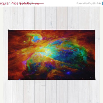SALE Galaxy Area Rug, Rainbow Orion Nebula Rug, Rainbow Decorative Rug, Woven Area Rug, 2x3 Rug, 3x5 Rug, 4x6 Rug , Accent Rug,