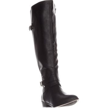 MG35 Carleigh Wide Calf Riding Boots, Black, 9 US