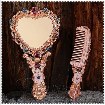 European retro foldable heart shape with mirror frame vanity mirror hand mirror makeup mirrors for girl gift J034