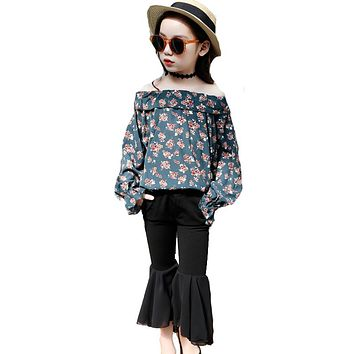 Girls Clothing Sets  New Child Fashion Chiffon Blouse Bell-bottomed Pant Sets Kids Pint Clothes