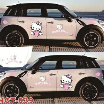 Hello KT cat car sticker hello kitty cartoon car stickers cover scratches funny personality car decoration-161