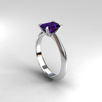 emerald cut Iolite engagement ring, yellow gold ring, white gold, solitaire ring, simple, purple engagement, tanzanite alternative