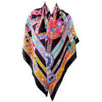 Hermes Le Songe de la Licorne Black Orange Pink Cashmere Silk Shawl