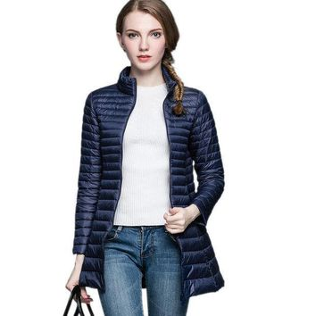 PEAPGB2 NEWEST 2016 Woman 90% White Duck Down Long Jacket Female Overcoat Ultra Light Slim Solid Jackets Winter Coat Portable Parkas