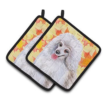 Medium White Poodle Fall Pair of Pot Holders BB9944PTHD