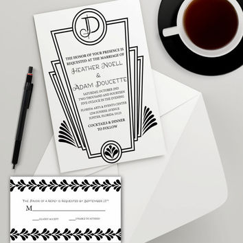 Instant Download - Black White Art Deco Wedding Bridal Shower Golden Birthday Vintage Roaring Twenties Party Invitation RSVP Template