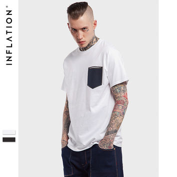 New Arrival Pocket Printed Leisure Loose Tshirt Mens Summer Tshirts High Street Hip Hop Tees For Men